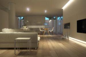 Verlichte woonkamer